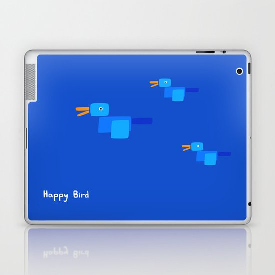 Happy Bird-Blue Laptop & iPad Skin