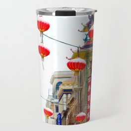 Red Chinese Lanterns in San Francisco Chinatown Travel Mug