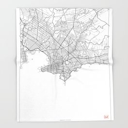 Montevideo Map White Throw Blanket