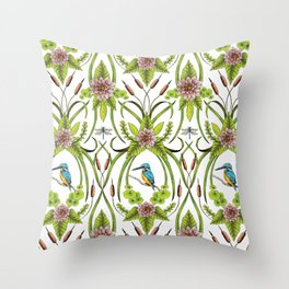 Common Kingfisher, Water Lilies, Dragonflies & Cattails Pattern Throw Pillow