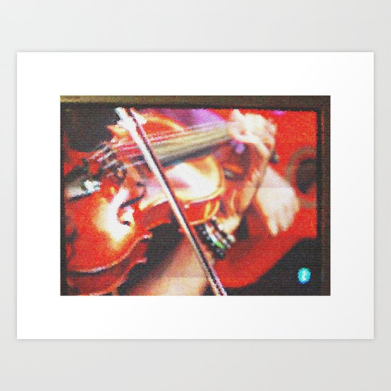 Spanish guitar and violin on television pie Art Print