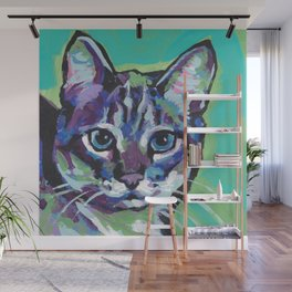 Fun TABBY CAT bright colorful Pop Art painting by Lea Wall Mural