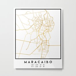 MARACAIBO VENEZUELA CITY STREET MAP ART Metal Print