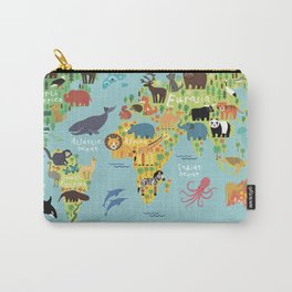 World animals map Carry-All Pouch