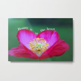 Heart Shape Red Poppy Flower with Quotes Metal Print