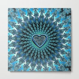 Celtic Heart Knot Fractal Mandala Metal Print