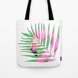 Pink Flamingo Palm Leaf Tote Bag