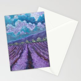 A Field Of Lavender. Landscape Drawing. The Texture Of Pastels. Stationery Cards