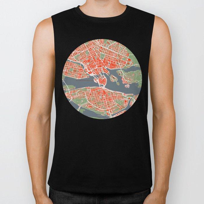 Stockholm city map classic Biker Tank