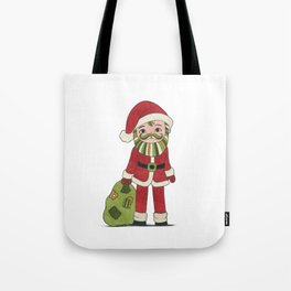Santa Claus with beard and green mustache and sack with gifts Tote Bag