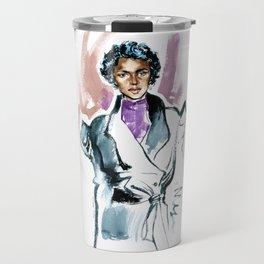 Fashion #11. Girl in a black coat Travel Mug