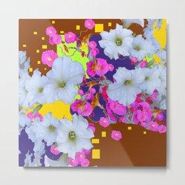 White Garden Petunia & Morning Glories Flowers Brown Art Metal Print