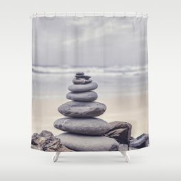 Stone Tower At A Wild Portuguese Beach Shower Curtain