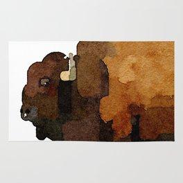 American Buffalo (Bison) Watercolor Painting Rug