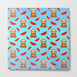 Cute funny sweet adorable relaxed chilling meditating zen sloths, red ripe juicy summer tropical watermelons cartoon fantasy pastel blue pattern design Metal Print