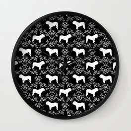 English Bulldog silhouette florals black and white minimal dog breed pattern print gifts bulldogs Wall Clock