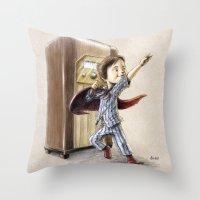 superhero Throw Pillows featuring Serial Superhero by Allan McInnes