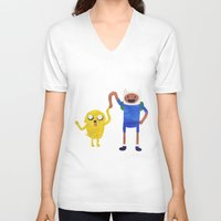 finn and jake V-neck T-shirts featuring Finn And Jake! by Ben Morgan