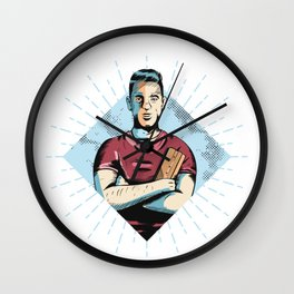 Man with red t-shirt Wall Clock