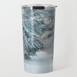 Trail by Evergreens in Winter Travel Mug
