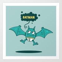 bat man Art Prints featuring Bat Man Bat by Drew