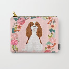Cavalier king charles spaniel blenheim white dog floral wreath dog gifts pet portraits Carry-All Pouch