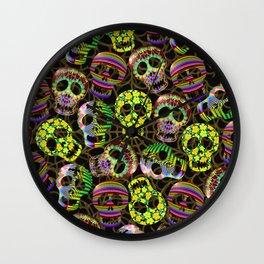 Sugar Skulls Pattern Wall Clock