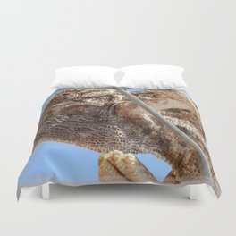 Close Up Of A Climbing Chameleon Duvet Cover