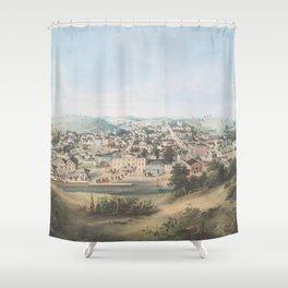 Vintage Pictorial Map of Staunton VA (1857) Shower Curtain