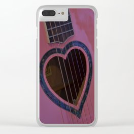 Pink Heart Guitar Clear iPhone Case