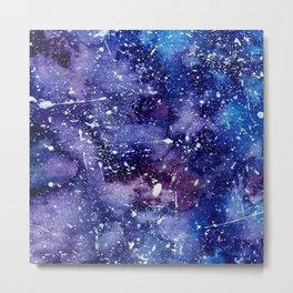 Abstract blue purple watercolor white paint splatters Metal Print