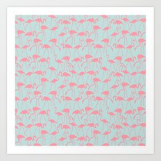Cool Flamingos Pattern Art Print