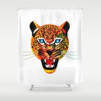jaguar Shower Curtains featuring jaguar by Alvaro Tapia Hidalgo