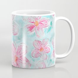 Hand painted teal fuchsia watercolor floral Coffee Mug