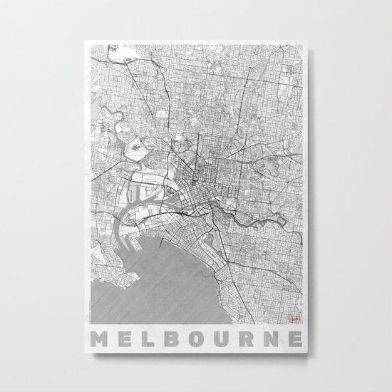 Melbourne Map Line Metal Print