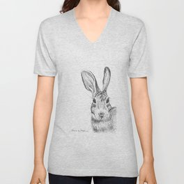 Eastern Cottontail Rabbit Drawing Unisex V-Neck