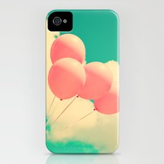 Happy Pink Balloons on retro blue sky  iPhone (4, 4s) Slim Case