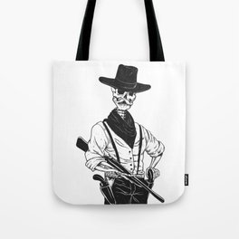 Sheriff with mustache and rifle Tote Bag