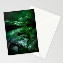 Magical Mountain Lake Deep Green Stationery Cards