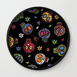 Sugar Skulls on Black Wall Clock