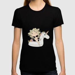 Girl On An Inflatable Unicorn T-shirt