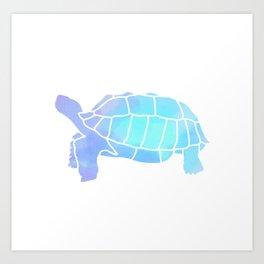 Sulcata Tortoise Silhouette (watercolor canvas) Art Print