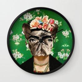 Frida Katy FrenchBulldog Wall Clock
