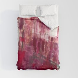 Sunset in the Valley [2]: a colorful abstract piece in reds, pink, gold, gray, and white Comforters