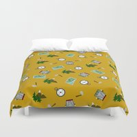 hiking Duvet Covers featuring Hiking Pattern by DAW Surface Design