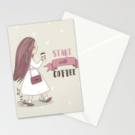 Start with Coffee Stationery Cards