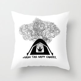 Hash Tag Happy Camper Throw Pillow