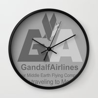 gandalf Wall Clocks featuring Gandalf Airlines by Faniseto