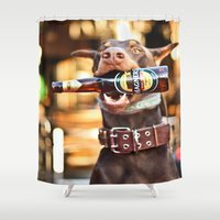 doberman Shower Curtains featuring I'll Drink To That by Paw Prints By Jamie