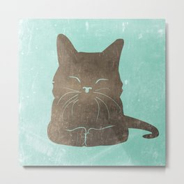 Happy cat illustration in blue and brown Metal Print
